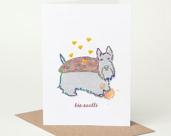 Scottish Terrier Card - Biscotti (dog birthday card, scotti dog card, funny dog card, cute dog card, blank dog card, foodie card, dog lover)