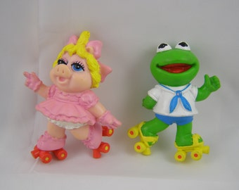 Muppet Babies Miss Piggy and Kermit 1986 McDonalds Happy Meal Toys, set of 2