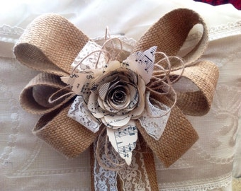 20 hessian bows jute twine lace pew post chair aisle wedding music paper flower decoration barn venue bride.