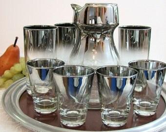 Mid-Century Queen's Lusterware Silver Ombre Fade 8-Pc Barware Set ... Decanter, 4 Martini Glasses, 3 Highball / Collins Glasses ... BYOB