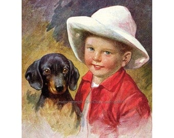 Dachshund Greeting Card | Boy with Dog | Repro Karl Feiertag | Best Friends