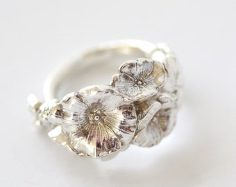 Antique Sterling Silver Ring - Harlequin Holly Hock I, 1958