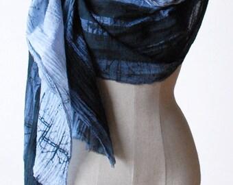 transitional scarf, indigo shawl, cotton gauze, oversized scarves, hand printed scarf