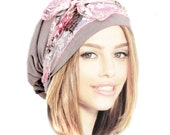 Snoods, Pre Tied Bandana, Head Scarves, Tichel, Hair Snood, Chemo Head Scarf: Taupe Pink Floral Lace Wrap... many more styles in shop - 075