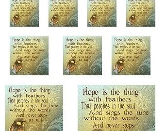 Bird Inspirational Poem Sampler Sheet of Sizes 1,1.5,2,3 and 4 Inch Sized Squares Instant Download Digital JPEG Images (15-1)