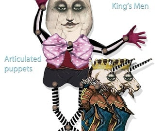 Alice in wonderland Humpty Dumpty and the unicorn fairy tale paper dolls articulated Puppet collage sheets craft supply