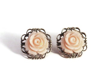 LIGHT VINTAGE PINK Resin Flower Earrings, Antique Silver Filigree Base, Rose Flower, Surgical Steel Posts - Qty 1, Pair Stud Earrings