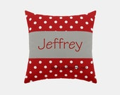 Square Name Pillow Cover - Red Polka Dot, Solid Gray - Connor