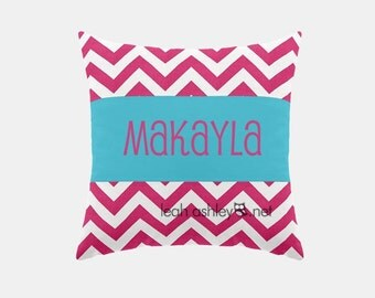 Square Name Pillow Cover - Hot Pink Chevron, Solid Turquoise - Ella