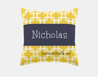 Square Name Pillow Cover - Corn Yellow Square, Solid Navy - Hayden