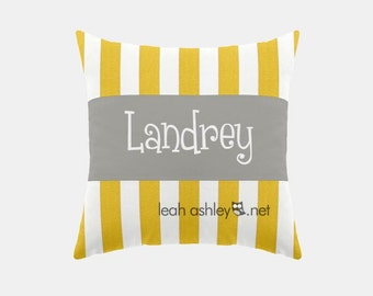 Square Name Pillow Cover - Corn Yellow Stripe, Solid Gray - Reese