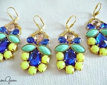 Statement earrings, neon earrings, statement neon earrings, yellow blue earrings, cobalt blue earrings, silver earrings, big earrings, long