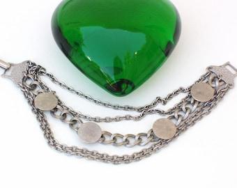 Vintage Chain Bracelet Coin Dot Medallions Multi Strand Bracelet Silvertone Metal Chains