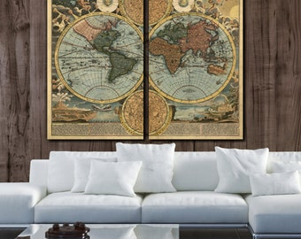 Huge what a wonderful world map art on canvas script large world map art on canvas circa 1700 color 2 panel gallery art gumiabroncs Images