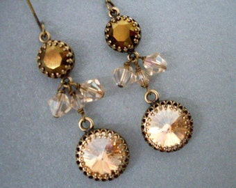 Golden crystal rhinestone earrings, antiqued brass, Austrian crystal bead dangles, vintage style, golden brown crystal jewelry