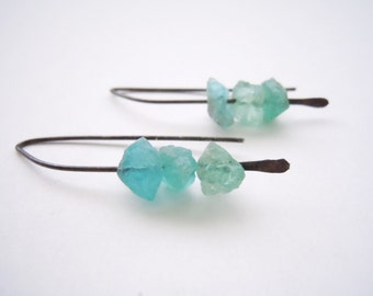 Raw Blue Apatite Earrings -Oxidized Sterling Silver - Uncut Raw Gemstones