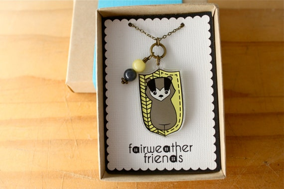 Loyal Badger Necklace. House Pride Necklace, Art Pendant, Honey Badger Jewelry, Yellow Acrylic Charm, Laser Cut Pendant, Animal Necklace