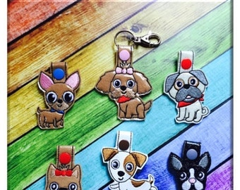 In The Hoop Toy Dog Snap Key Fob Embroidry Machine Design Set