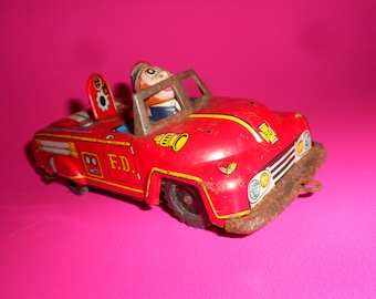 Tin Fire Truck Vintage 60s Molded Lithographed Japanese Fire Truck Mid-Century  Friction Toy