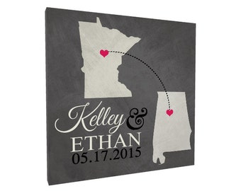Long Distance Relationship, Two States Love Personalized Wedding sign or Anniversary gift, Established Sign, Destination Wedding