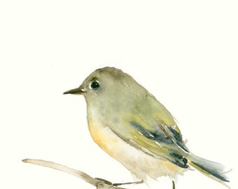 Art Print from Original Bird Watercolor Painting Little Green Bird