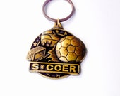 Soccer Keychain, Solid Bronze, Large Keychain, Vintage Keychain, engravable gift, Made in the U.S.A., Medallion , Crown trophy