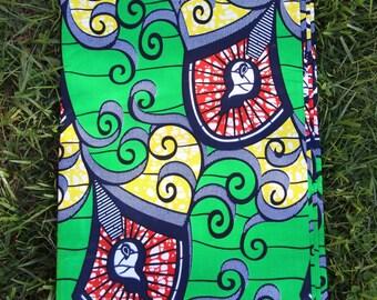 "Green Swirl: Yellow, Navy, Orange BATIK Ankara, African Dutch Wax Print Fabric, 1 yard x 46"", Tribal African Fashion, Sewing, Craft Supplies"