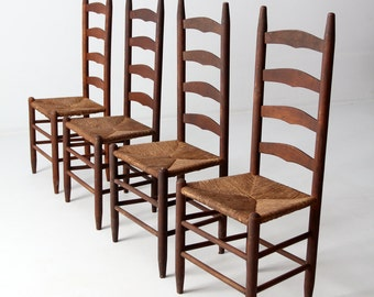 Superior Antique Ladder Back Chairs With Rush Seat, Set Of 4 Dining Chairs