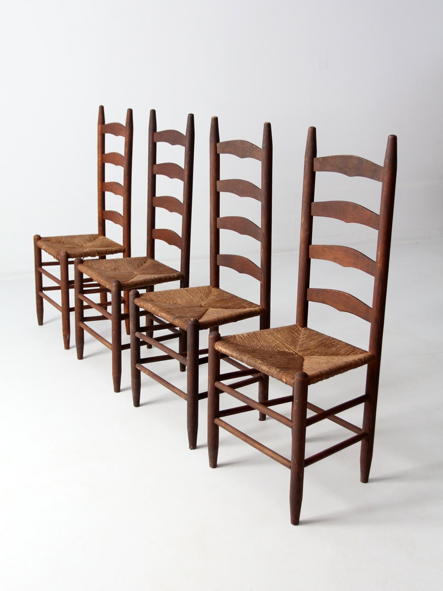 Antique Ladder Back Chairs With Rush Seat Set Of 4 Dining