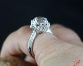 OEC Old European Cut Light Pale Pink Sapphire & Diamond Lotus Flower Engagement Ring 4ct 9mm 14k 18k White Yellow Rose Gold-Platinum-Custom