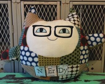 Nerd Nerdy Maneki Neko Cat  Good Luck Cat Pillow Lucky - Ready to Ship