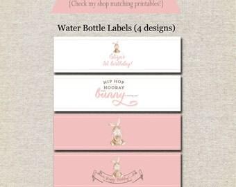 Bunny Rabbit Water Bottle Labels | Bunny Rabbit Water Bottle Wrappers | Bunny Rabbit Drink Labels | Vintage Bunny Birthday Baby Shower