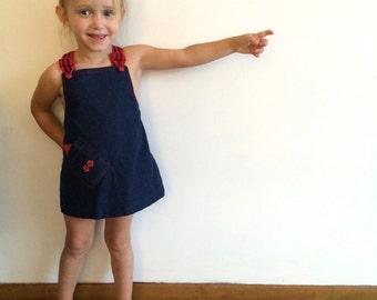1970s baby girls COUNTRY WESTERN denim jumper / romper / dress