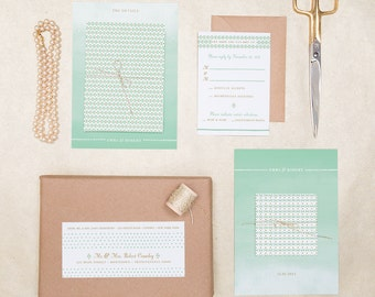 Custom Boxed Wedding Invitation: Kraft, Gold and Mint Bow Ties & Pearls DIY