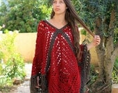 Vintage Granny Square Poncho , Women's Pullover Sweater,  Fringed Shawl