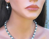 Gray & Emerald Necklace Earring Set - 18 Inch Beaded Necklace - Seed Bead Sterling Silver - Dressy Modern - Pearl Jewelry - For Her