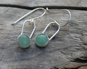 Green Aventurine Dangle Earrings. Serrated Sterling Silver Bezel Set Drop Earrings. Handmade sterling ear hooks.