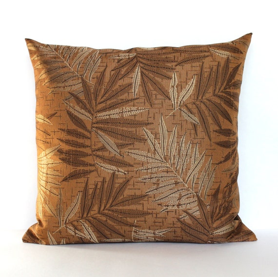 Rust Pillow Cover Leaf Upholstery Fabric Decorative Pillow