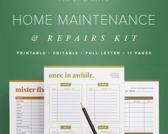 Home Maintenance Kit – Editable, Printable, Home Improvement, Repair, Decor, DIY Projects, Home Management Binder / Household PDF Printables