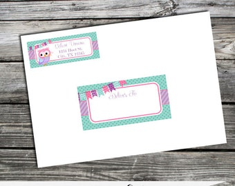 Envelope Labels -Owl -Return Address Labels -Sticker -Mailing Label -Birthday -Baby Shower -Deliver to -Address Sticker -Stationery