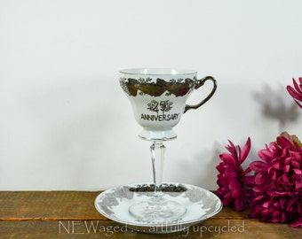 Vintage tea cup wine glass / 25th wedding anniversary / teacup wine glass / anniversary gift / repurposed / upcycled