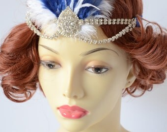 Gatsby Costume Blue and White Feather 1920s headband, Gatsby headband, Costume headpiece, rhinestone headband, halo, art deco