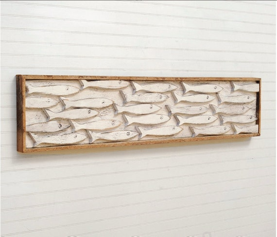 Fish Wall Decor Wood : Framed fish art minnow school wooden wall decor