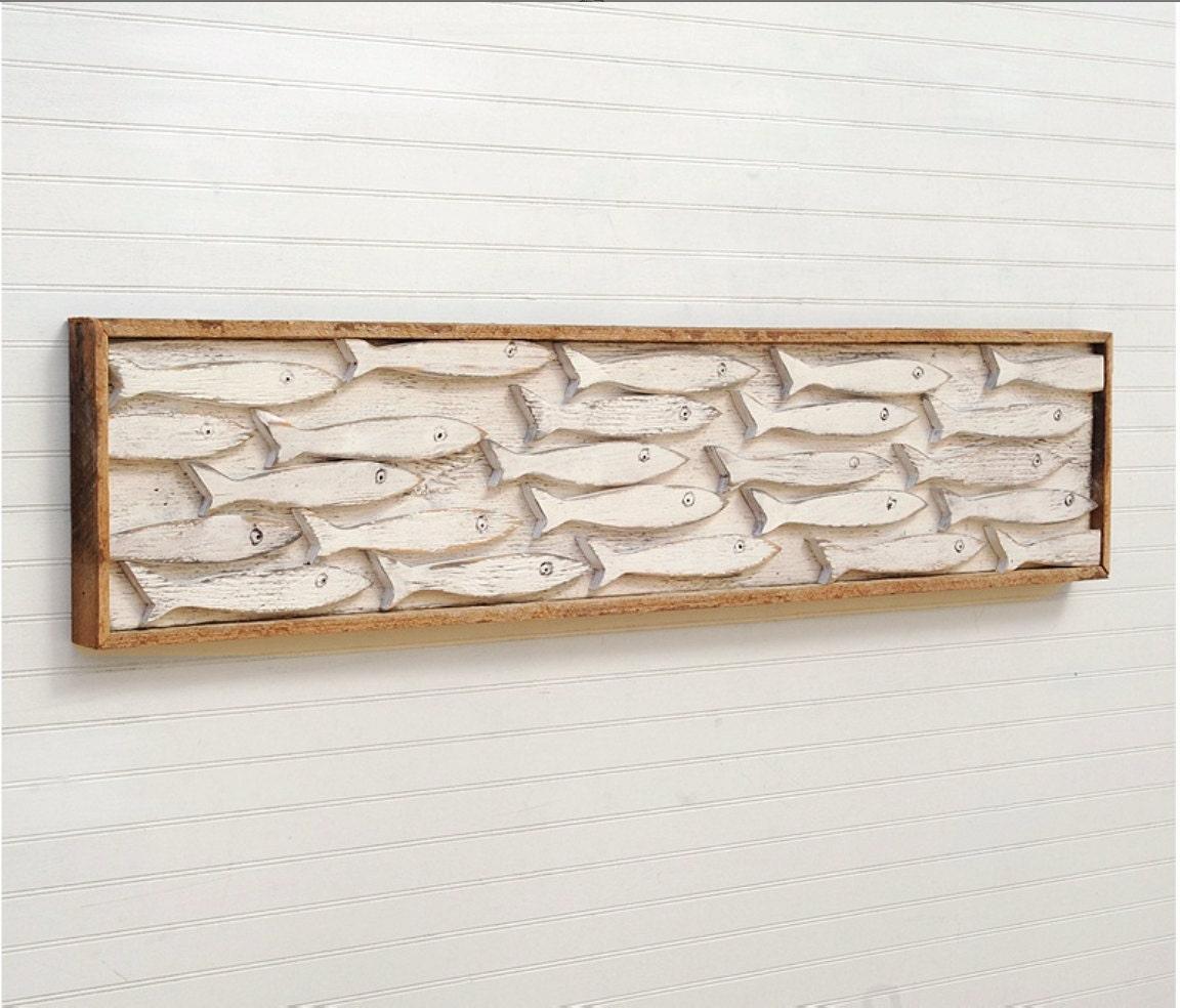 Wall Art Wood Fish : Framed fish art minnow school wooden wall decor