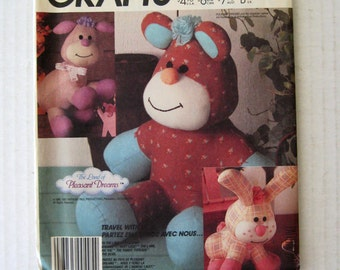 1980s Teddy Bear Bunny  Lamb Stuffed Animal Toy Pattern, McCalls 3211, 8-10 inch Dolls, Sewing Pattern, Transfer, New Baby Gift, UNCUT