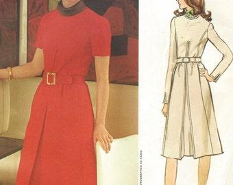 1970s Pierre Balmain Womens Dress Princess Seams Front Inverted Pleat Vogue Paris Original Sewing Pattern 2622 Size 12 Bust 34 UnCut