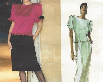 80s Albert Nipon Womens Cocktail or Evening Gown Dropped Waist Vogue Sewing Pattern 1659 Size 14 Bust 36 UnCut Vogue American Designer