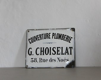 Antique French Enamel Sign For a Plumber 1900s