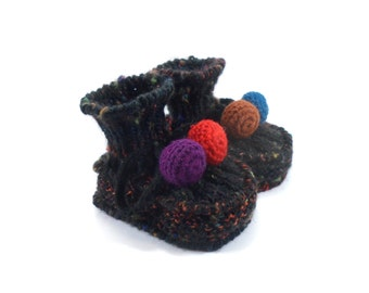 Knitted Baby Booties - Black, 6 - 9 months
