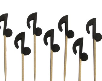 24 Black Musical Notes, Cupcake Toppers, Food Picks, Party Picks